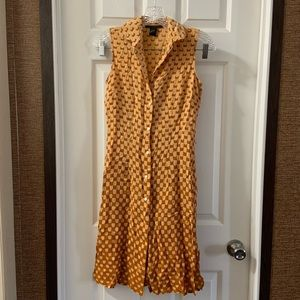 The Limited orange Print Silk Button Down Dress 2